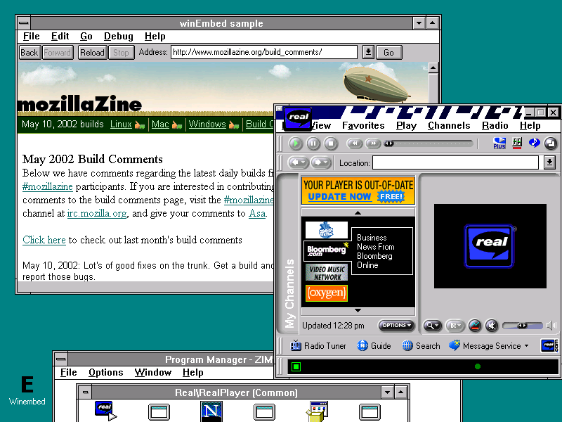 Misc Windows This old version of Real Player runs but doesn't seem to want to display  anything when it is supposed to be playing video. The title bar effect it  tries to ...